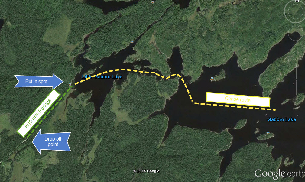 Map of out put in spot and canoe route to campsite