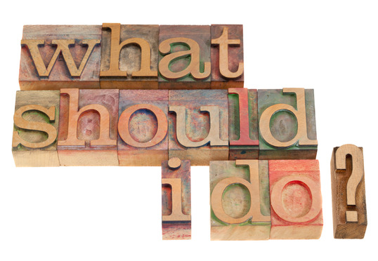What should I do question in vintage wood letterpress printing blocks, isolated on white